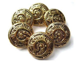 6 Vintage buttons bronze color plastic floral design great for button jewelry, 25mm