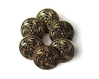 6 Vintage buttons bronze color plastic flowers design great for button jewelry, 18mm