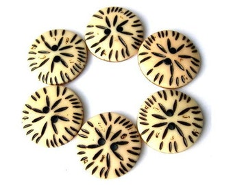 6 Vintage ethnic oriental buttons plastic 25mm sew on buttons