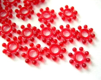 50 beads, translucent red plastic flowers,  vintage, unique, 9mm