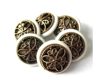 7 Vintage buttons, white plastic with trim in the center, shank buttons, 17mm