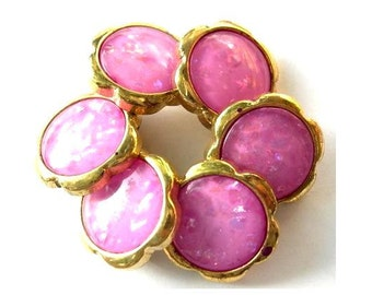 6 Vintage buttons gold color plastic flowers pink fuschia center with glitters 26mm