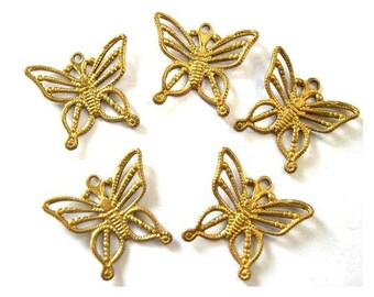 6 butterfly shape vintage metal findings can be beads and pendants