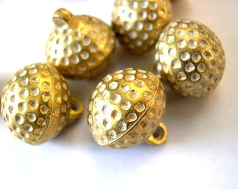6 Vintage plastic buttons gold color with white dots 18mmX14mm