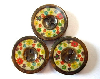 6 Vintage buttons plastic colorful flowers on cream, 19mm