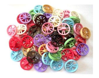 48 Vintage plastic buttons 8 assorted colors unique design , 18.5mm