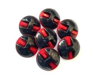 6 Vintage buttons plastic red with blue unique design 28mm