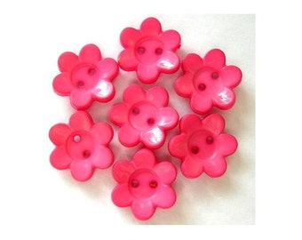 15 Vintage flowers buttons pink plastic 15mm can be use for button jewelry