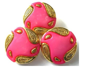 6 Vintage buttons, pink with gold color ornament  21mm