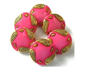 6 Vintage buttons, pink with gold color ornament