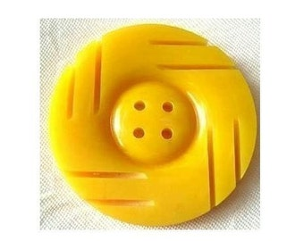 Vintage plastic button ART DECO xl 35mm 4mm thick RARE, yellow