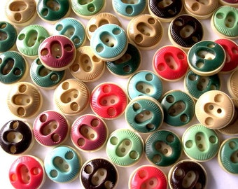 54 Vintage plastic buttons 9 assorted colors unique design , 16mm