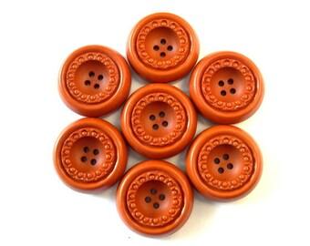 9 Vintage buttons  cognac color plastic 30mm, 10mm thick unique