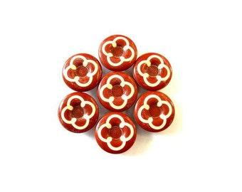6 Vintage buttons plastic white flower on unique color, 17mm
