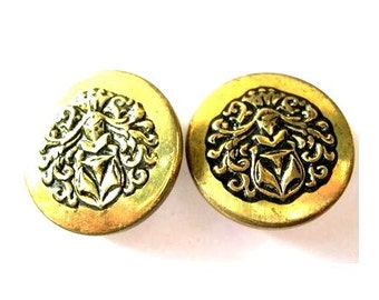 6 Vintage metal buttons, unique, great for buttons jewelry. 27mm