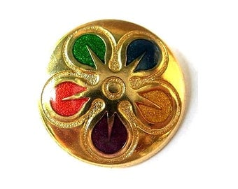 Vintage metal button  flower ornament 28mm