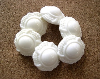 6 Vintage flowers buttons white plastic, thick, shank buttons-choose size