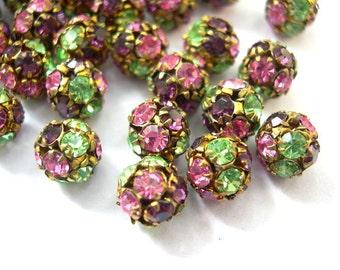 2 Vintage Swarovski crystal ball beads, 8mm, rhinestones in pink, green violet in brass setting- RARE