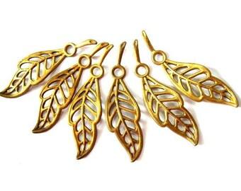 7 Vintage metal beads leaf shape dangling beads 35mm X10mm