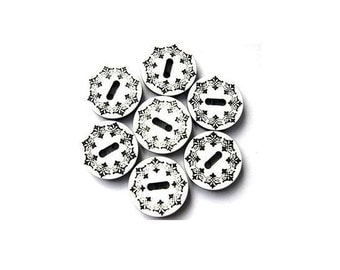 5 Vintage buttons black ornament on white 18mm
