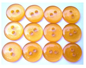 15 Vintage lucite plastic buttons orange 13mm, can be use as beads for button jewelry