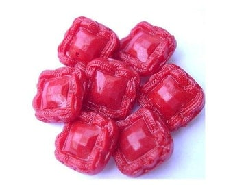 9 Antique vintage plastic buttons red square plastic shank 21mm