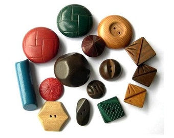 15 Buttons, RARE antique vintage wood buttons assorted shapes and shades, unique package