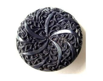 6 Antique vintage plastic buttons etched floral dark blue 34mm