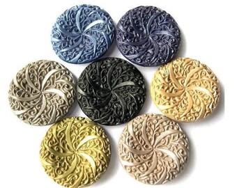 7 Antique vintage plastic buttons, 7 colors, etched floral 34mm