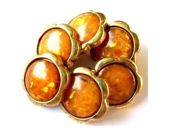 6 Vintage buttons gold color plastic flowers unique gold yellow shade center with glitters -choose size