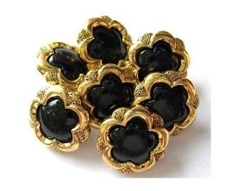 6 Vintage buttons gold color plastic flowers black center 17mm