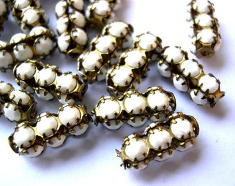 2 Vintage SWAROVSKI  beads white milk opaque crystals in metal setting genuine 1100 made in Austria