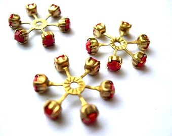 2 SWAROVSKI CRYSTAL beads, vintage,  flower shape brass setting with red crystal- RARE