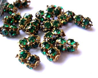 2 Vintage SWAROVSKI beads green rhinestones crystals in metal setting genuine 1100 made in Austria