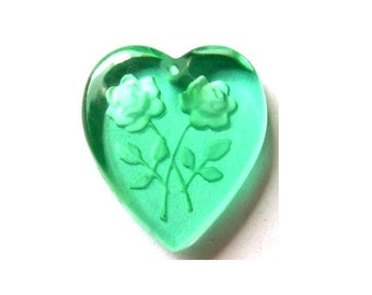 2 Vintage glass beads heart shape etched rose flowers, green shade, can be pendant ,19mmx18mm
