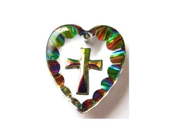 Vintage glass crystal pendant bead heart shape etched cross 19mmX18mm