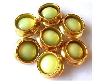 6 Vintage antique buttons gold color plastic with green trim