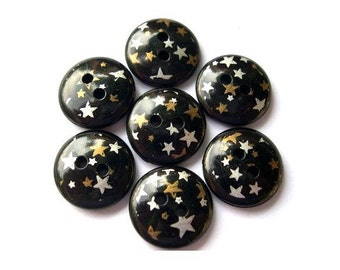 10 Vintage plastic buttons black with silver color and bronze color stars 15mm