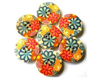 6 Wood buttons colorful picture flowers in red, yellow, blue 25mm