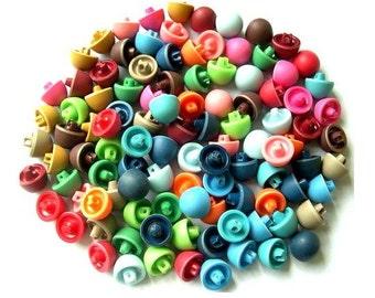 SALE-91 Antique vintage plastic buttons, 13 colors, mushroom shape 15mm, 10mm height, UNIQUE