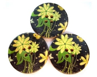6 Wood buttons 30mm, printed yellow flowers on black