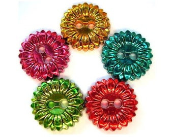5 Vintage flowers plastic buttons new hand paint in 5 assorted colors 25mm