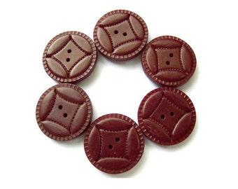 6 Vintage buttons bordeaux to brown plastic 29mm