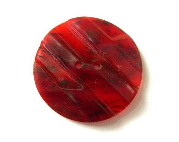 3 Vintage plastic buttons, unique red with carved ornament, large, 34.5mm