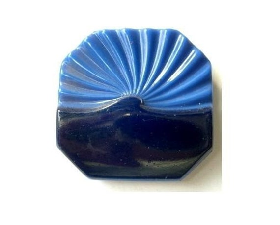 Antique button, glass, vintage, square, blue and black, 34mm
