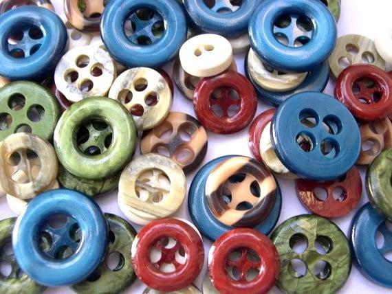 60 Buttons, 6 kinds, antique vintage plastic buttons unique shape