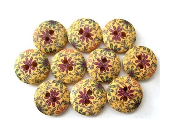 15 Buttons, wood, wooden, purple and blue  flowers ornament, 15mm, proper for button jewelry