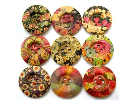 9 Wood buttons, 9 kinds, colorful, flowers, ornament, 25mm