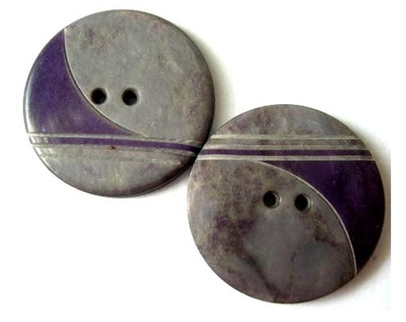 4 buttons art deco unique rare plastic buttons grey with purple ornament, 28mm