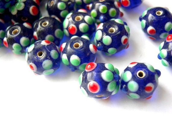 5 lampwork glass beads blue with green flowers and red dots, might be vintage